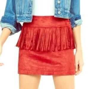 Suede Fringe Skirt - Size L